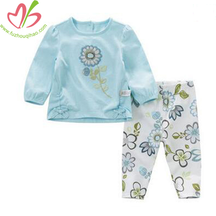 Baby's Aqua Top and Floral Legging, Baby Cute Aqua Color Sets