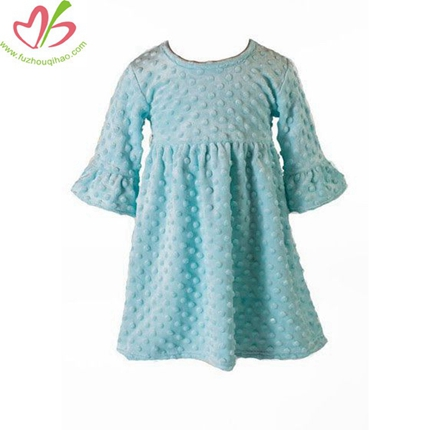 Half Sleeves Minky Dots Girl's Dress