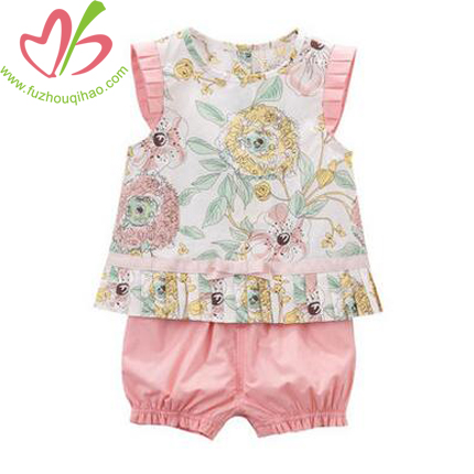 Cute Baby Woven Floral Short Sets