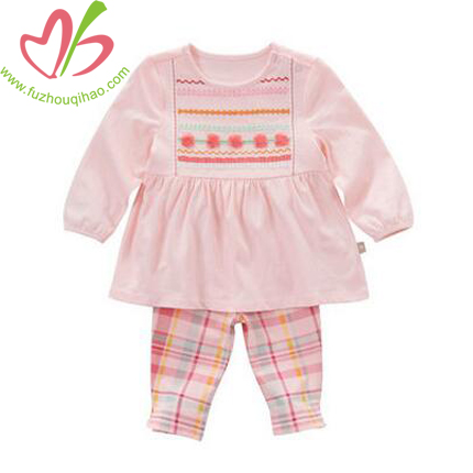 Cute Baby Pink Sets, Pink Top and Plaid Legging