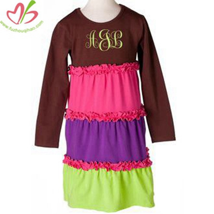Brown Cake Design Kids Dress with Puff Sleeves