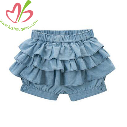 Light Blue Girl's Denim Ruffle Shorts