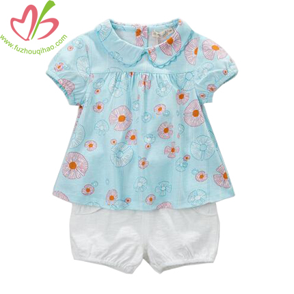 Baby's Aqua Puff Sleeve Top and Bubble Short