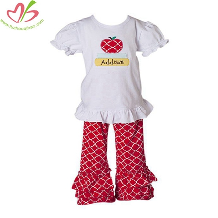 Red Diamond Printing Girl's Triple Ruffles Pant Set
