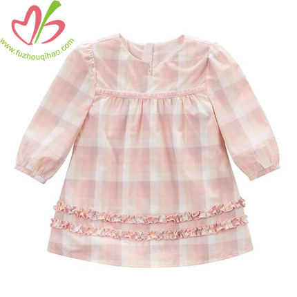 3/4 Sleeve Gril's Pink Plaid Dress