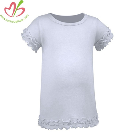 Ruffled Sleeves Kids Blank White Tees