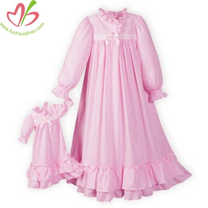 Pink Color Princess Style Girls Nightgowns