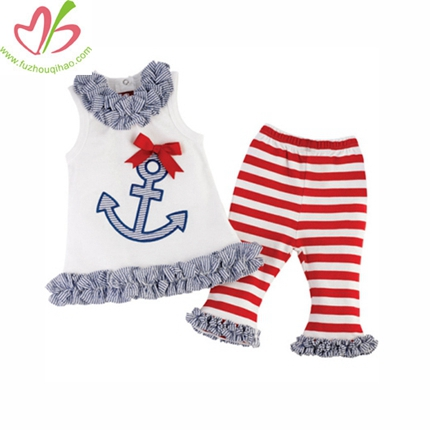 Anchor Applique Kids Capris Legging Set