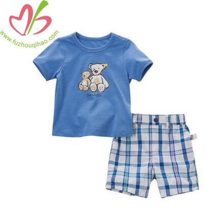 Cute Blue Boy's Set, Boy's Cotton Blue Tee and Plaid Short