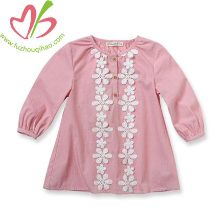 Girl's Beautiful Pink Tunic with Lace Flowers