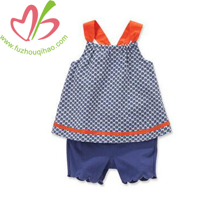 Cute Navy Blue Baby Sets with Orange Strap