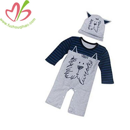 Baby Boys Girls Print Romper Jumpsuit+Hat Outfits Clothes