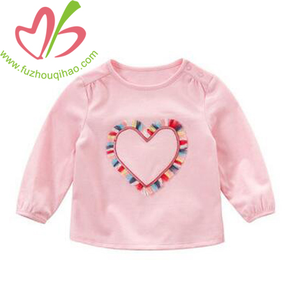 Heart Applique Girl's Pink Long Sleeve T Shirt