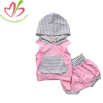 Girl 2pcs Set Outfit Pink Sleeveless Striped Hoodie+Short Pants