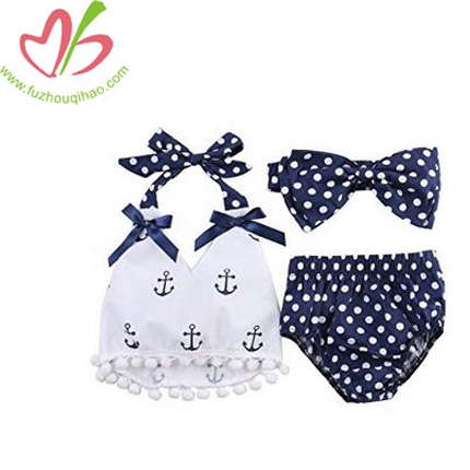 Baby Girls Clothes Anchor Tops+Polka Dot Sunsuit Set