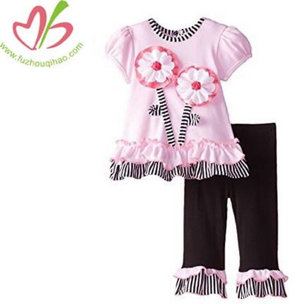 Cute Girls Flower Applique Legging Set