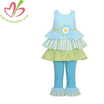 Girls Blue White Green Check Ruffle Spring Outfit