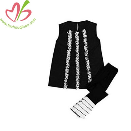 Girls Long T-shirt Dress Tops Ruffles Pant Legging Set