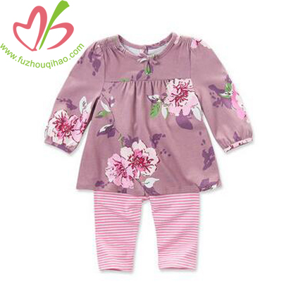 Beautiful Baby Girl's Long Sleeve Sets,  Floral Top and Stripe Legging