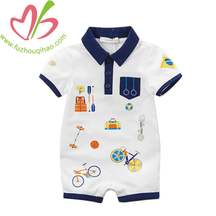 Baby Boy's Printed Short Sleeve Romper with Polo Neck