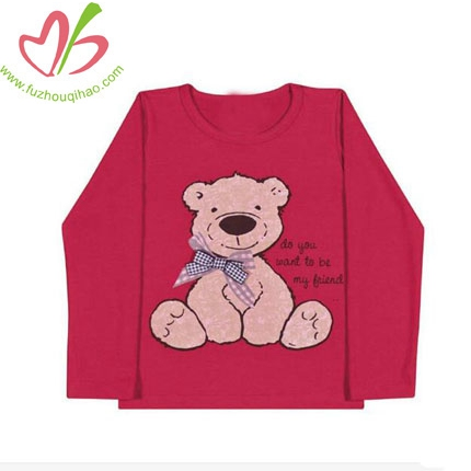 Long Sleeve Bear Tee for Toddler Girl