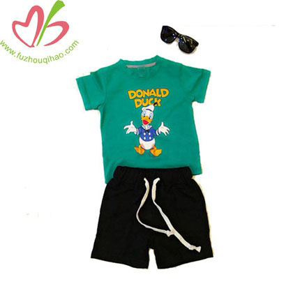 Donald Duck Green Children's Cartoon O Collar Boy T-shirt With Short   Sleeves