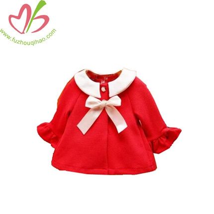 Pure Cotton Long Sleeve Small Coat Lapels Of The Girls