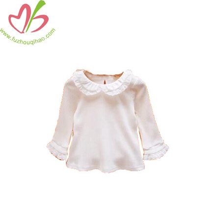 Girls Long Sleeve Lace Collar Doll Baby Girl Princess T-shirt