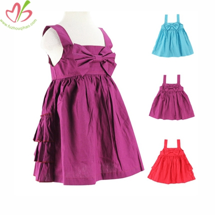 100% Cotton Woven Fabric Bow Children Dress