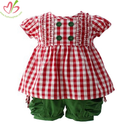 Red Gingham Top with Green Short