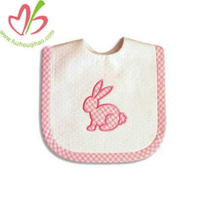 Pink Gingham Baby Bib With Bunny Applique