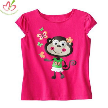 Short Sleeves Monkey Printing Kids Girl's Tee