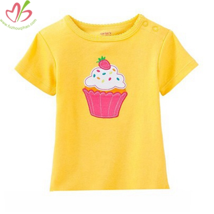 Cake Applique Yellow Baby Girl's Tees