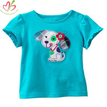 Turquoise Baby Short Sleeves Blouse