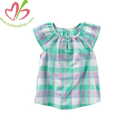 Plaid Poplin Peasant Top Girls Clothes