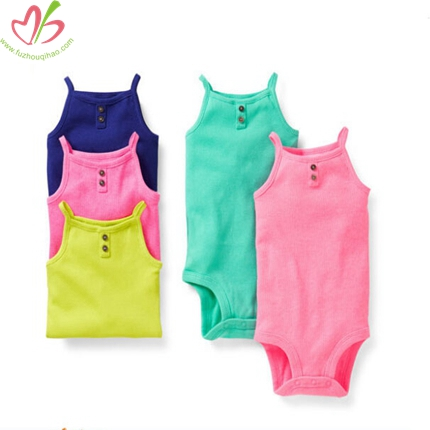 Solid Color Colorful Plain Baby Romper