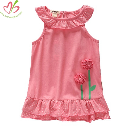 Sleeveless Ruffle Neck Children Girl's Top