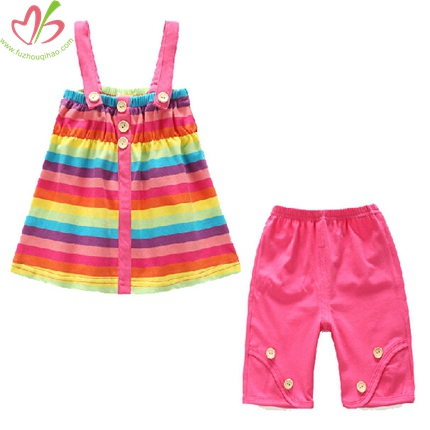 Rainbow Stripe Girl's Clothing Set for 0-7T