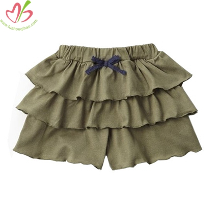 Solid Color Girls Ruffled Short