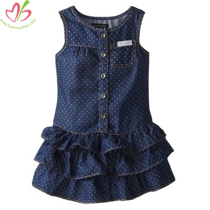 Polkadot Demin Children Dress wih Ruffles on Bottom