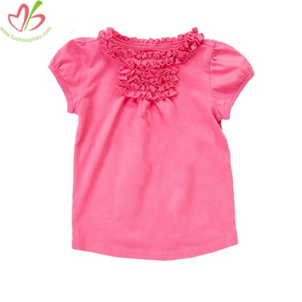 Short Sleeves Shirt with Ruffles around Neck