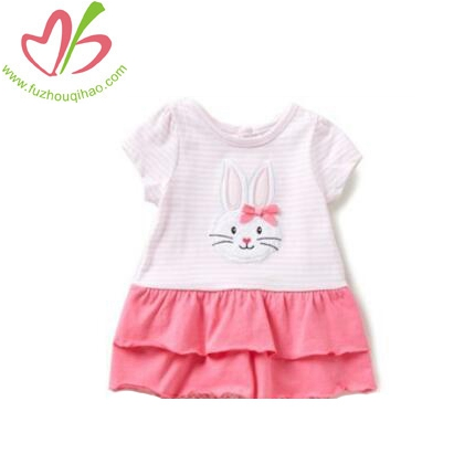 Double Layer Embroidery Rabbit Baby Girls Clothes