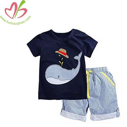 Boys' Cotton Applique Clothing Short Sets