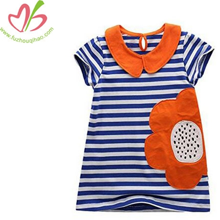Girls Cotton Cartoon Patch Shortsleeve Dress