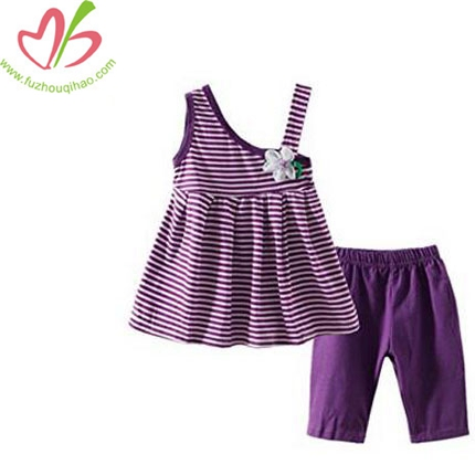 Girls' Shorts Purple Set Stripe Cute Outfit
