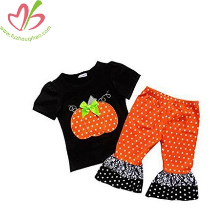 Girls Halloween Polka Dot Pumpkin Patch 2 Piece Ruffle Pants Outfit