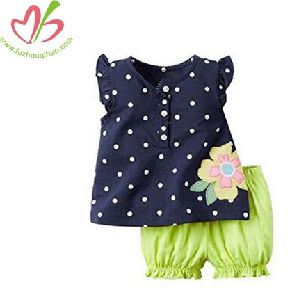 Girls Summer Cute Dots Vest T-shirt Tops Bloomers Pants Outfits Set