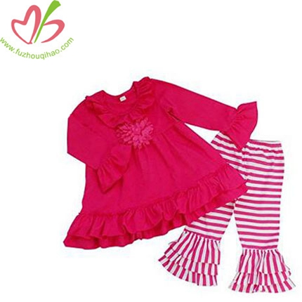 Girls Hot Pink Stripe Long Sleeve Flare Ruffle Pants