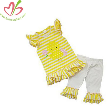 Girl's Yellow Chick 2 PCS Outfit, Top & Leggings Sets