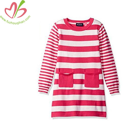 Girls' Long Sleeve Stripe Sweater Dress